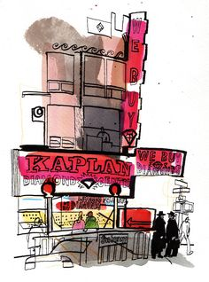 Lucinda Rogers, The Diamond District, Ink, crayon and watercolour on paper 25 x 18 cm Published in the Conran Magazine Voyage Sketchbook, Art Sketchbook, Artist Journal, Journal Art, Bullet Journal, Architecture Graphics, Architecture Sketches, Diamond District, Watercolor Sketch