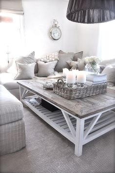 We have awesome Cozy and Rustic Chic Living Room Inspiration for your Beautiful Home. Check it out our collections and ideas. Consider the size of the room you have to work on. Living Room Grey, Home Living Room, Living Room Designs, Living Room Decor, Apartment Living, Cozy Living, Coffee Table Grey Living Room, Square Coffee Tables, Farmhouse Coffee Tables