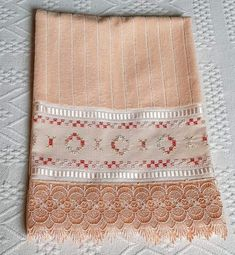 Towel, Indian Embroidery, Straight Stitch, Cross Stitch, Craft, Embroidered Towels, Tejidos, Bike