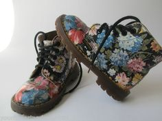 RARE Doc Dr Martens Young Girls Vtg Floral Flower Combat Boots Shoes | eBay