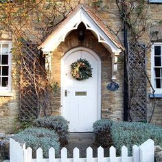Well that's it, we've closed our office for Christmas! Time to head home and start getting very festive and having the cottage look so Christmassy is definitely helping! Have a lovely evening everyone 🎄 Cottage Front Doors, Front Door Porch, Cottage Porch, Cottage Exterior, Cottage Homes, House Front, Cottage Style, Door Canopy Cottage, Porch Canopy
