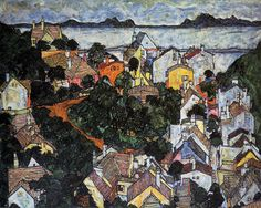 Egon Schiele, Summer Landscape, Krumau, 1917. Oil on canvas. Private Collection fashionkix: