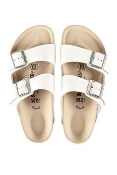 birkenstock arizona sandals white   bassike