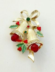 Fashion Jewelry Crystal Double Bells Fashion Christmas Bows Sleigh Bells Brooches Christmas Gifts Christmas Brooches For Women Multicolor