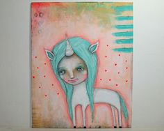 whimsical girl painting unicorn folk art mixed by thesecrethermit, $40.00