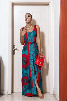The Kasinma maxi dress is an elegant pieces with front button down and side pockets. Comes with a belt for a cinched waist look. It is combination of two prints Color may look slightly different than due to screen settings or lighting. African Print Dresses, African Print Fashion, Africa Fashion, African Fashion Dresses, African Dress, Fashion Prints, Fashion Outfits, Fashion 2018, Jeans Fashion