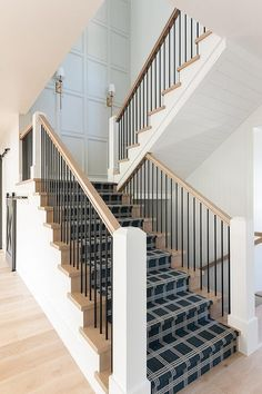 Black Stair Runner on Honey Stained Treads - Transitional - Entrance/foyer Staircase Wall Decor, House Staircase, Entry Stairs, Entrance Foyer, Wood Stairs, Staircase Design, Painted Stairs, Entryway, Black Stairs