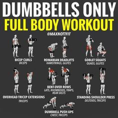 Dumbbell Workout Plan Part Arms Dumbbell Workout Plan - ARMS! All you've got at home is a pair of dumbbells? Fear not? There is Still plenty of moves you can do to hit just about every major muscle group - ARMS. Although all arm dumbbell exercise Gym Workout Tips, Weight Training Workouts, At Home Workout Plan, No Equipment Workout, At Home Workouts, Workout Plans, Training Plan, Workout Routines, Arm Workouts For Men