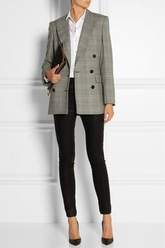 Stella McCartney|Prince of Wales check stretch-wool double-breasted blazer|NET-A-PORTER.COM