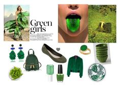 """""""Green with Envy ~"""" by zaxyshoes-co-uk on Polyvore featuring beauty, Anthropologie, Tory Burch, Michael Kors, daria, Carlos Miele, Green Girls, OPI and Essie"""