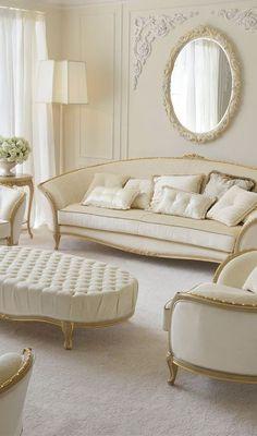 white classic living room decor idea
