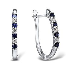 Diamond and Blue Sapphire Hoop Earrings
