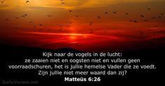 Kijk naar de vogels in de lucht: ze zaaien niet en oogsten niet en vullen geen voorraadschuren, het is jullie hemelse Vader die ze voedt. Zijn jullie niet meer waard dan zij?