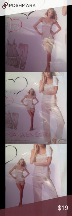 Satin 3 pieces pajama set by Jolinesse Beautiful white satin 3 pieces pajama set! ❤️ European company Jolinesse is known for quality! ❤️ Never open package containing long pants, shorts and beautiful camisole with delicate lace! ❤️ Jolinesse Intimates & Sleepwear Pajamas
