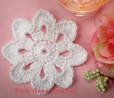 PINK ROSE CROCHET : Centrinhos Flor Verde e Laranja