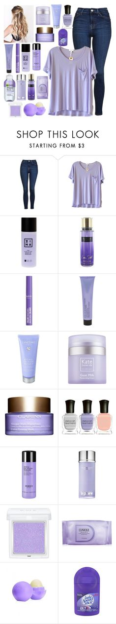 """""""Night routine in D!"""" by annelieseoh ❤ liked on Polyvore featuring Topshop, Clu, 3ina, Victoria's Secret, NYX, Becca, Lancôme, Kate Somerville, Clarins and Garnier"""