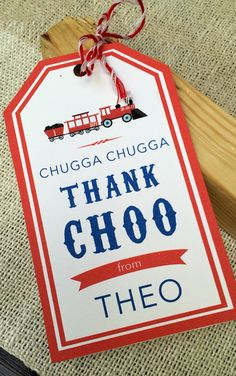 Say thank you with these adorable vintage style train themed birthday party favor tags. Simply print on card stock, cut out, punch a hole in the