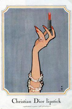 Christian Dior Lipstick ad by Rene Gruau Fashion Illustration Techniques, Fashion Illustrations, Oroboros Tattoo, Pub Vintage, Vintage Dior, Vintage Theme, Vintage Fashion, Dior Lipstick, Lipsticks