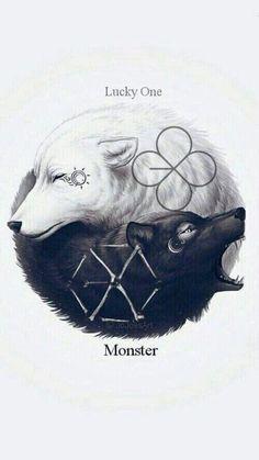 62 ideas for wall paper kpop exo fanart Wolf Wallpaper, Animal Wallpaper, Ying Yang Wallpaper, Exo Lucky, Baby Animals, Cute Animals, Exo Monster, Monster Board, Wolf Artwork