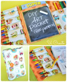 DIY Art Packet with free sewing pattern - chalkboard, crayon holder, notepad holder and more!