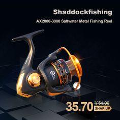 AX2000-3000 Saltwater Metal Fishing Reel #fishing #bassfishing #flyfishing Fishing Reels, Bass Fishing, Saltwater Fishing, Metal, Metals, Fishing