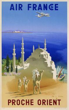 air france proche orient : 1950 affiches anciennes de EVEN