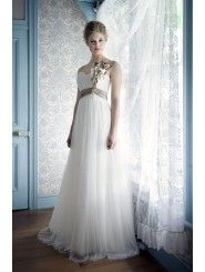 Silk and Lace Sweetheart Neckline Fitted Bodice A-line Wedding Dress