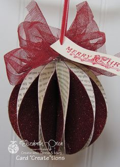 Paper Favor honeycomb sphere ornament / Pretty Paper Favor by Elizabeth Price at Seeing Ink Spotshoneycomb sphere ornament / Pretty Paper Favor by Elizabeth Price at Seeing Ink Spots Paper Christmas Ornaments, Noel Christmas, Handmade Christmas, Paper Christmas Decorations, Diy Ornaments, Beaded Ornaments, Glass Ornaments, Handmade Greetings, Greeting Cards Handmade