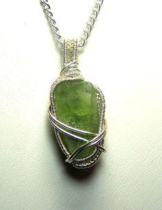 Peridot crystal  necklace pendant  Sterling Silver by mandalarain, $38.00