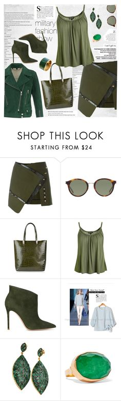 """Military fashion show"" by younica ❤ liked on Polyvore featuring Anthony Vaccarello, Belstaff, Yves Saint Laurent, Roberto Cavalli, Topshop, Gianvito Rossi, Blue Candy Jewelry, Katerina Makriyianni, military and polyvoreeditorial"