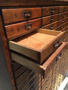 Antique 1920's Cincinnati OH History Oak Filing Cabinet Apothecary General Store