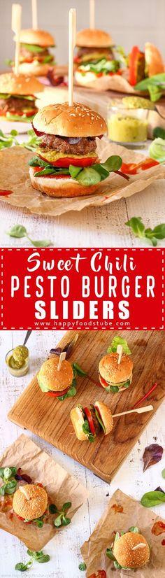 Sweet Chili Pesto Burger Sliders. Pesto burger patties, sweet chili sauce, salad leaves, pesto & tomato are sandwiched between mini burger buns via @happyfoodstube