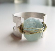 aqumarine nugget ring, wire wrapped in sterling silver and gold handmade by lolide.