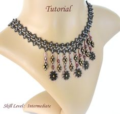PENELOPE superduo beaded necklace beading tutorial and pattern