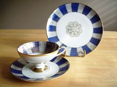 Bavaria Trio China Footed Cup Saucer Dessert Plate Blue and Gold Gilt Teacup.
