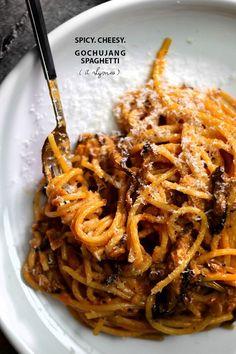 Spicy Cheesy Gochujang Spaghetti