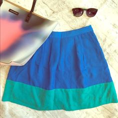 """✨HP✨ Blue Colorblock Skirt Blue colorblock skirt - worn once to a graduation party! Very cute, perfect for the colorblocking trend. Excellent condition. Host Pick """"Trends to Try"""" 8/25/14. J. Crew Skirts A-Line or Full"""
