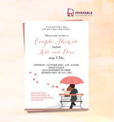 FREE PDF Couple Shower Wedding Invitation Template - edit the default information with your own and you're all set.