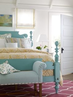 Cottage bedroom, turquoise, plaid...