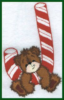 Threadsketches' Bearly Christmas, Christmas embroidery designs, bear on candy cane