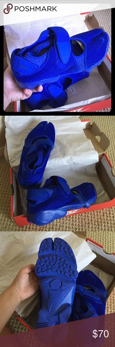 Nike AIR RIFT BR SIZE 9 BLUE -brand new! Got an extra pair and brand new. Don't need. Comes in original box. MENS size 9. Women, but for your bf or hubby. Super comfy and lightweight with excellent ventilation using mesh technology!  No lowball offers as I will decline. Purchased for $150! Nike Shoes Athletic Shoes