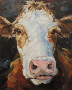 Impressionistic Cow Painting, 8x10 inch original oil painting of a Cow, paintings of cows, cow art, cow portrait