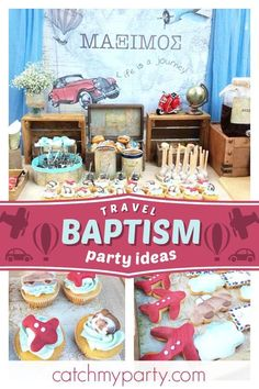 Sofia's art (Texni tis Sofias)'s Baptism / Travel / World / Countries - The world is mine Baptism at Catch My Party Christening Party Decorations, Baptism Themes, Baptism Party, Baby Party, Baptism Ideas, Boy Christening, Boy Baptism, Airplane Party, Party Activities