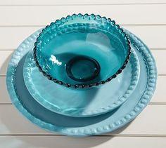 Beaded Outdoor Dinnerware, Turquoise #potterybarn
