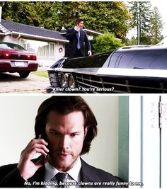 "11x07 Plush [gifset] - ""Killer clown?  You're serious?"" - Sam and Dean Winchester"