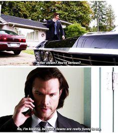 """Supernatural 11x07 Plush [gifset] """"Killer clown? You're serious?"""" - Sam and Dean Winchester ... oh poor Sammy LOL ^_^ #Dean #Sam #Clowm"""