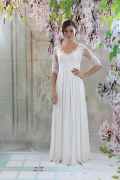 Simple lace, half sleeves chiffon dress, beach wedding dress, open back bridal gown
