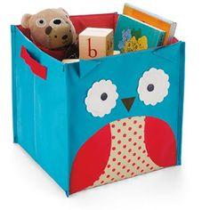 Owl nursery storage bin from Skip Hop Childrens Storage Boxes, Toy Storage Boxes, Kids Storage, Toy Boxes, Storage Baskets, Cube Storage, Owl Nursery, Nursery Decor, Safari Nursery