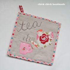 Tea time mug rug, fun gift idea for tea lovers