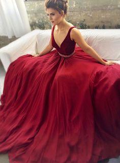 Charming v neck burgundy long prom dress, burgundy evening dress, formal dress